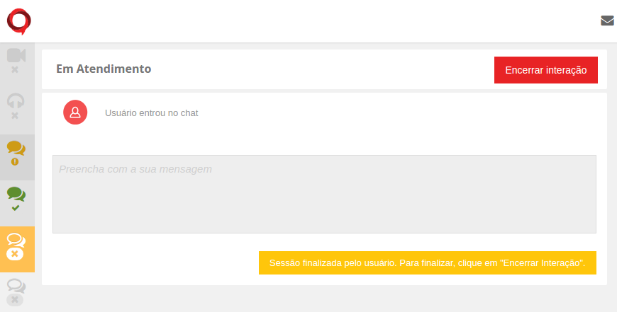 Quando o cliente encerra o chat, o ícone fica branco com o fundo em amarelo. Nesse momento você deve clicar em Encerrar interação para liberar o canal para o próximo cliente.
