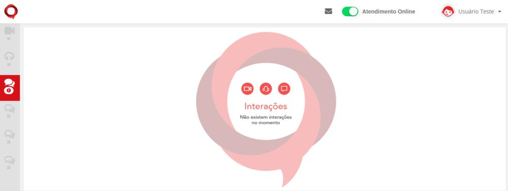 Quando há uma nova interação, aparecerá o ícone em vermelho no seu respectivo canal de atendimento.