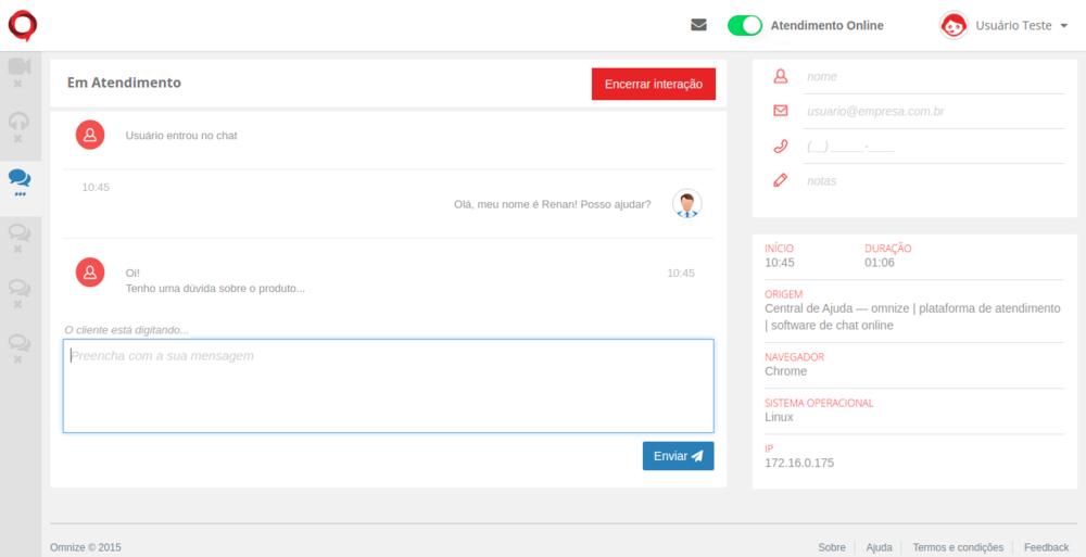"""Parte central da tela do agente é onde você vai usar para interagir com seus visitantes. Não tem muito segredo: no atendimento por chat, basta escrever na caixa inferior e em seguida pressionar """"enter"""" ou clicar em Enviar."""