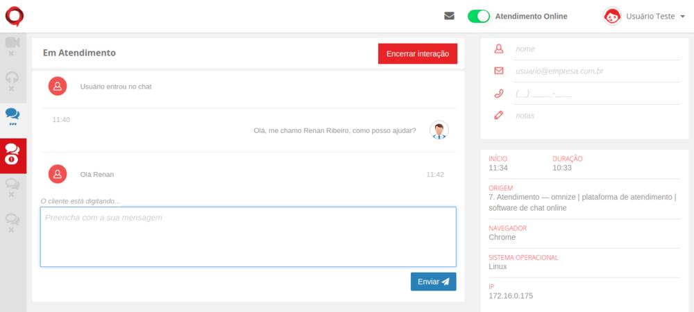Se você já estiver com uma interação de chat ativa e receber outra, irá tocar o alerta sonoro e outro ícone em vermelho aparecerá normalmente.