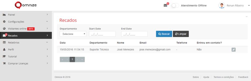 Tela principal de Recados:lista contatos enviados através do Formulário de Recados Offline do Widget.