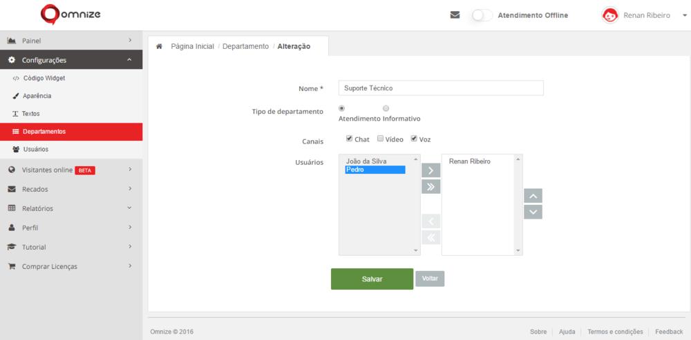 """Para selecionar atendentes específicos para responder no departamento, basta selecioná-lo e clicar na """"setinha"""">para movê-lo ao quadrado à direita (apenas usuários do lado direito que responderão neste departamento)."""