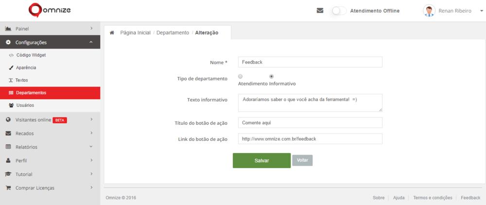 Configurações do departamento Feedback do widget no site Omnize.