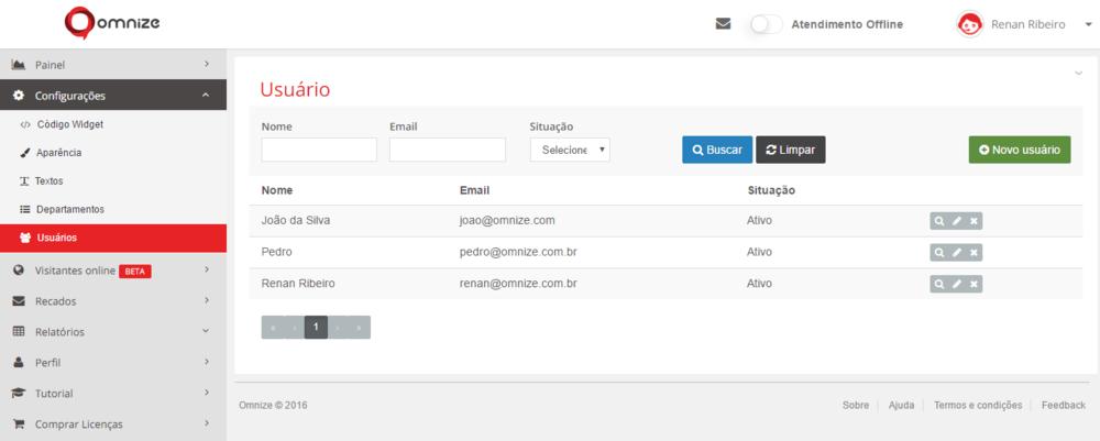 """Tela principal de Usuários: lista todos os usuários já criados. Para criar um usuário, clique em """"Novo usuário""""."""