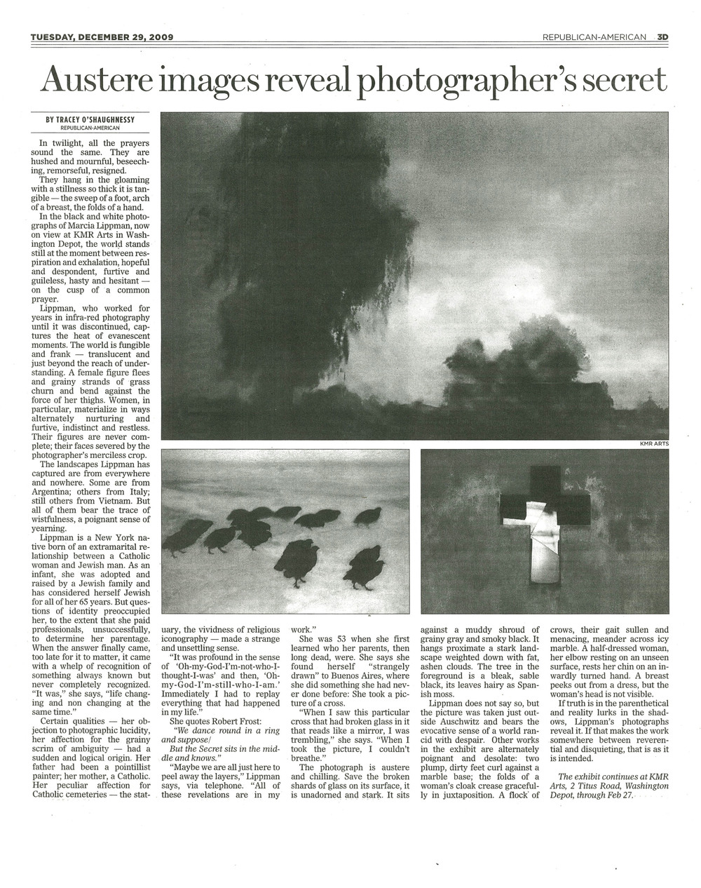 Austere Images Reveal Photographers' Secret. December 29, 2009. Republican American.jpg