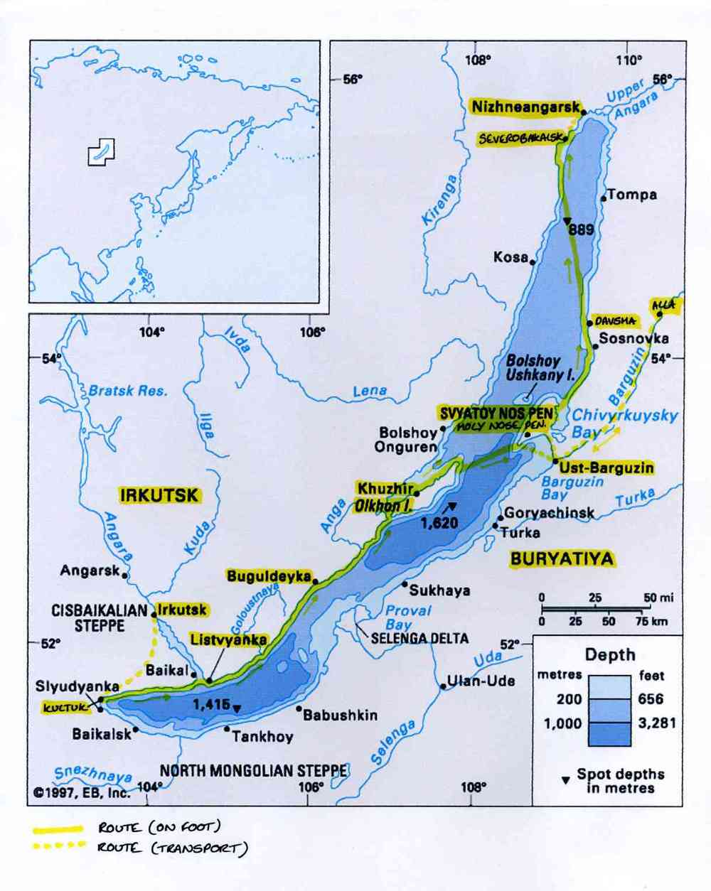 The expedition's route along the length of Lake Baikal, March 2008