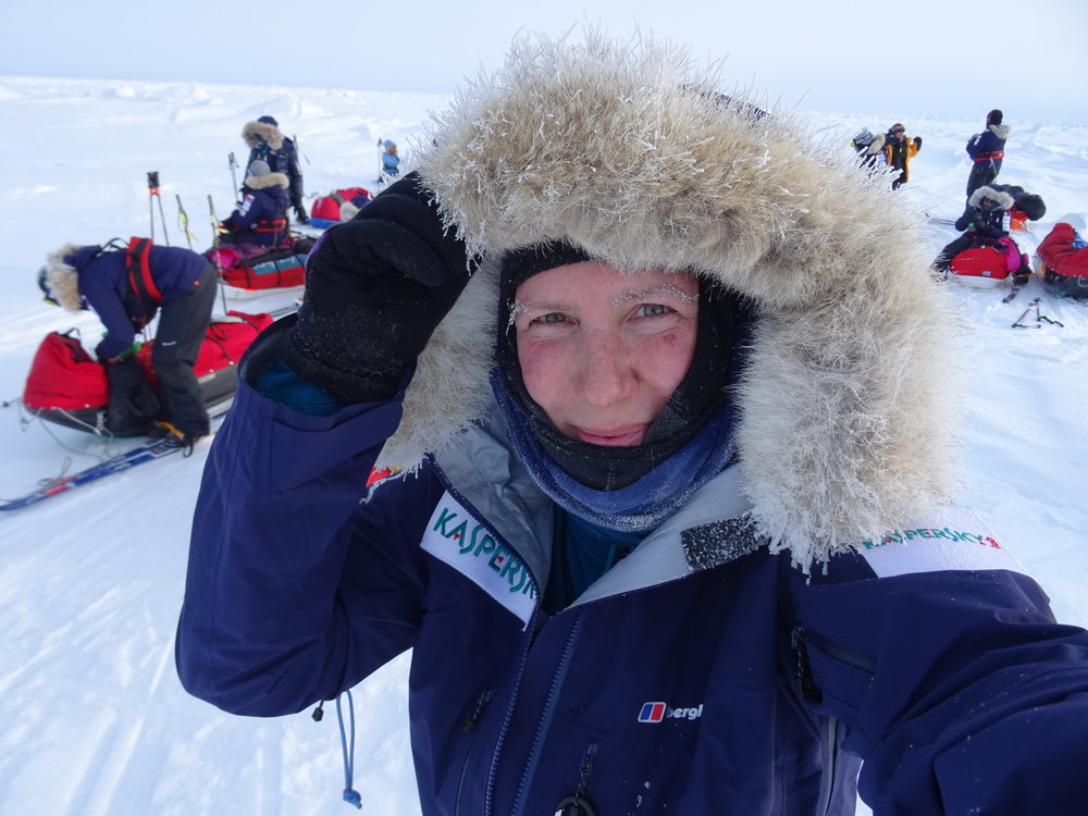 Expedition Leader Felicity Aston on the ice with the team..jpg