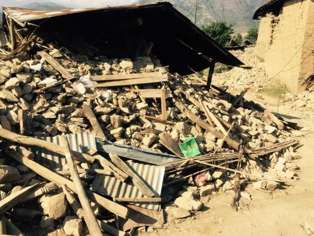 A collapsed building in the Rammechap district of Nepal.