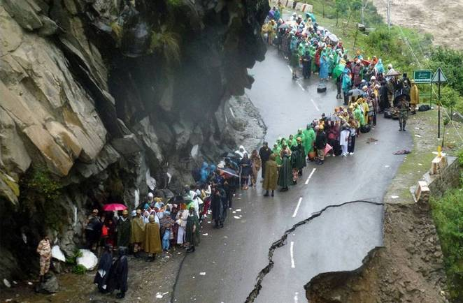 CC by 2.0. AFP Photo / Indian Army. A flood damaged road in Uttarakhand, Northern Indian.