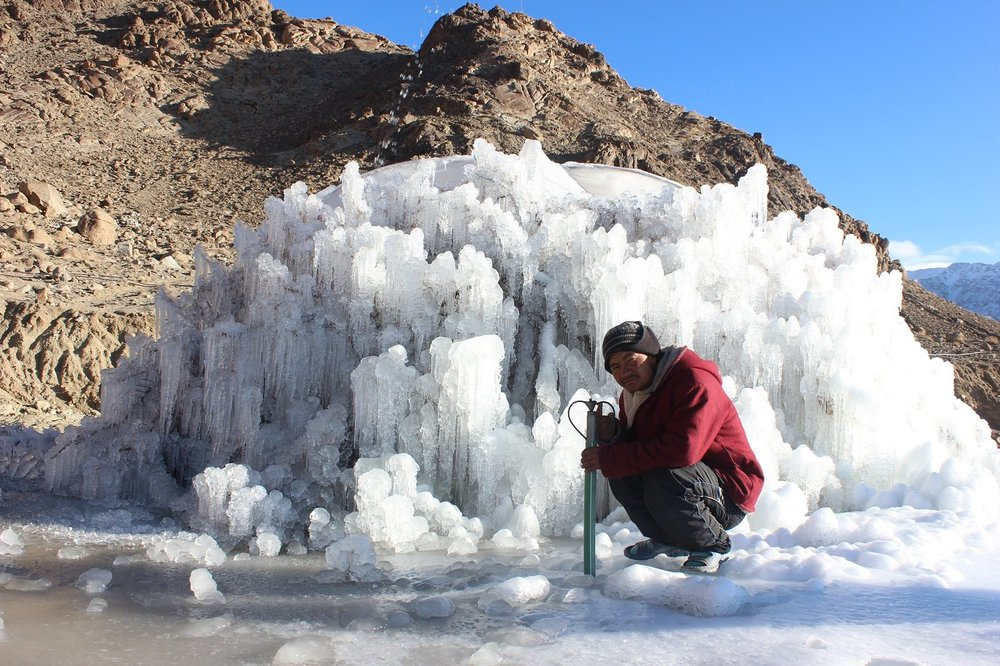 Photo credit: Ice Stupa Project - The early development of an Ice Stupa in Ladakh.