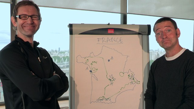 Plotting their dream Tour de France? Matt Rendell (left) with ITV Cycling colleague Ned Boulting and a flip chart!