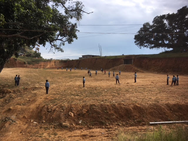 Kavre is very dry, this school playing field is one of the highest in the district. (November 2017)