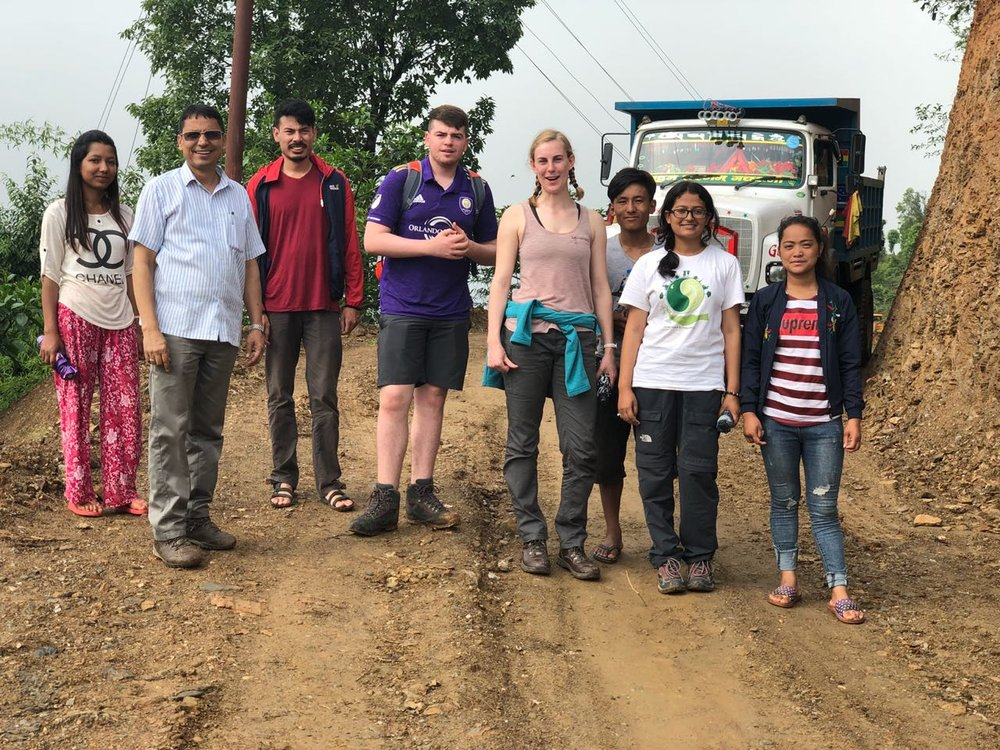 Tom, Katherine, Saraswoti and Amrit in Kavre with local community members and staff from EcoHimal Nepal