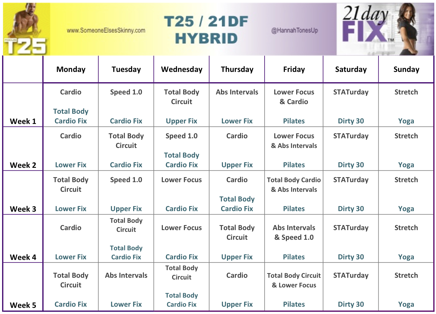 focus t25 and 21 day fix hybrid — hannah rose robinson