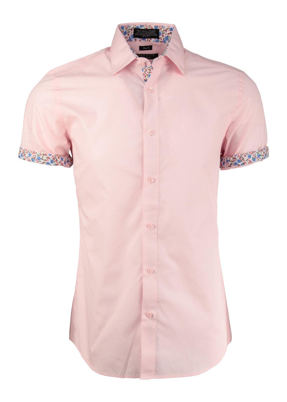 Trimmed Short Sleeved Dress Shirts M A R Q U I S