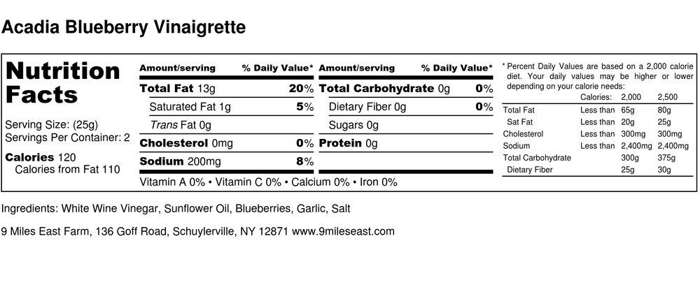 Acadia Blueberry Vinaigrette - Nutrition Label.jpg