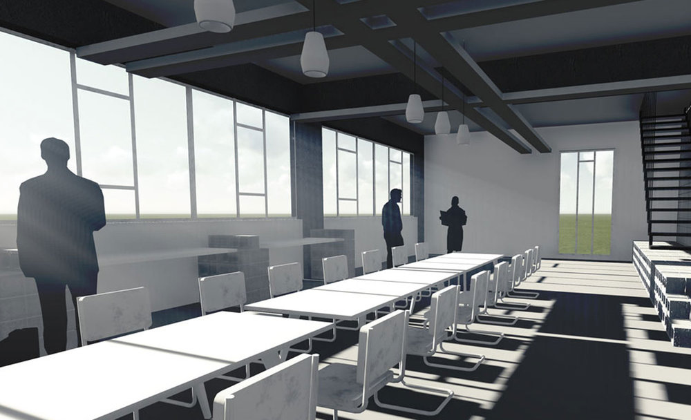 the imminent expansion of the client taking on and housing interns together with the possibility of dedicating floor space to versatile office groups - Interior Design Groups