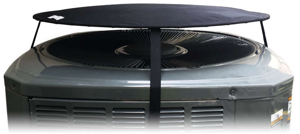 HovCov™ Air Conditioner and Heat Pump cover floats above your unit when running. As air vents through the opening, your unit is protected from debris, rain and snow.