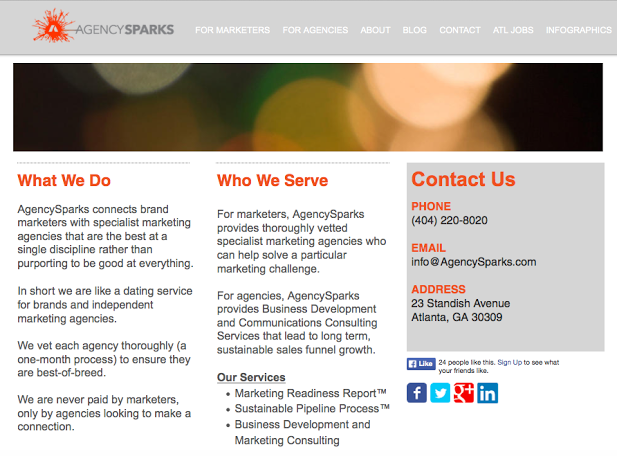 Old AgencySparks website. Big improvement, eh?