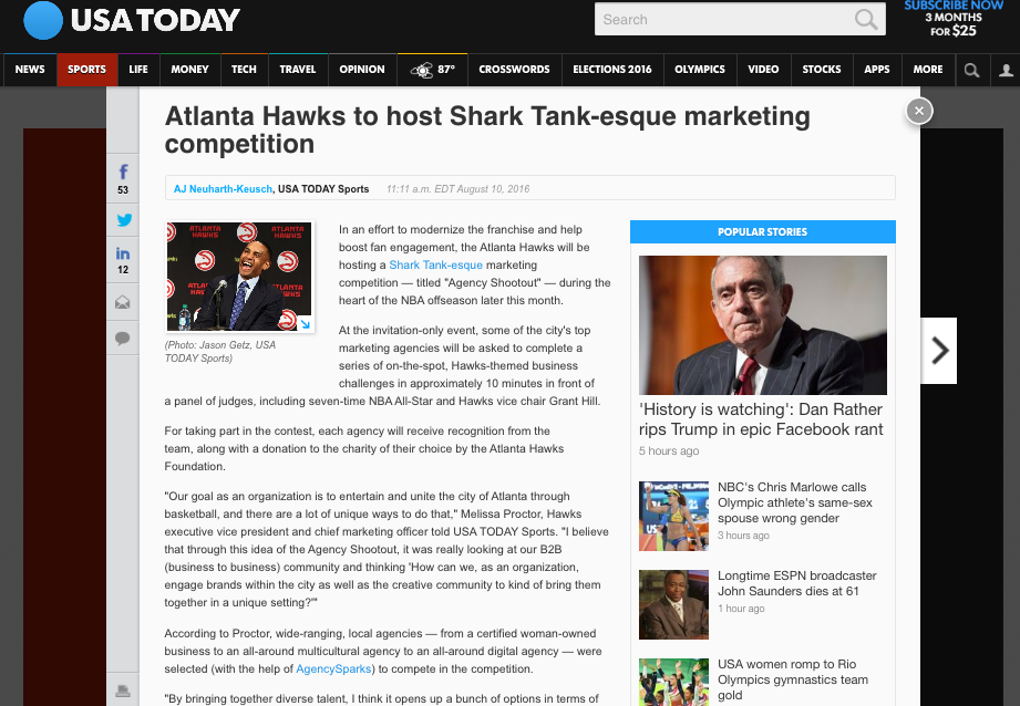 USA TODAY - Agency Shootout from the Atlanta Hawks and AgencySparks