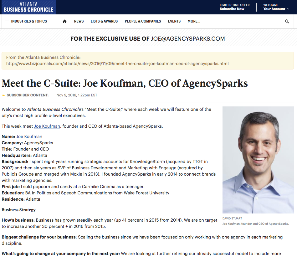 Meet the C-Suite - Joe Koufman, CEO of AgencySparks - Atlanta Business Chronicle