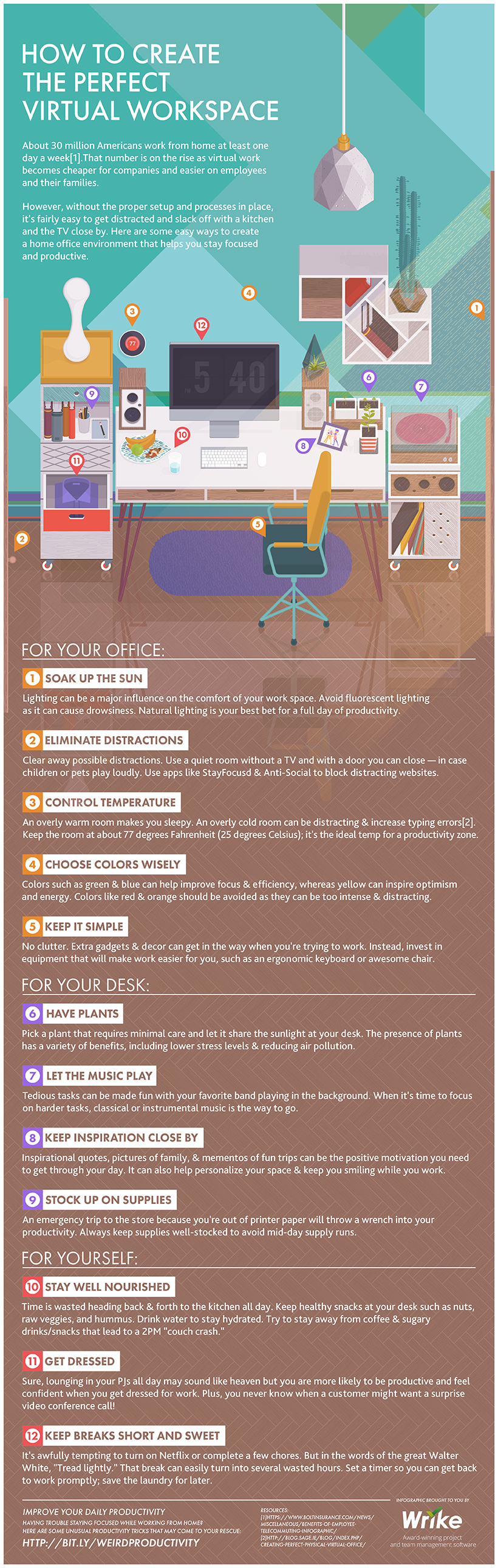 How to maximize productivity when working from home [infographic]