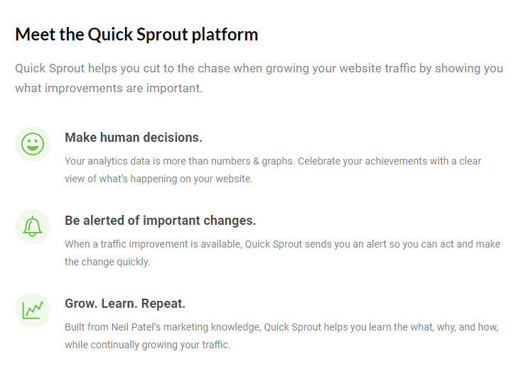 Quick Sprout analyzes big data to improve traction and traffic users on a company website.