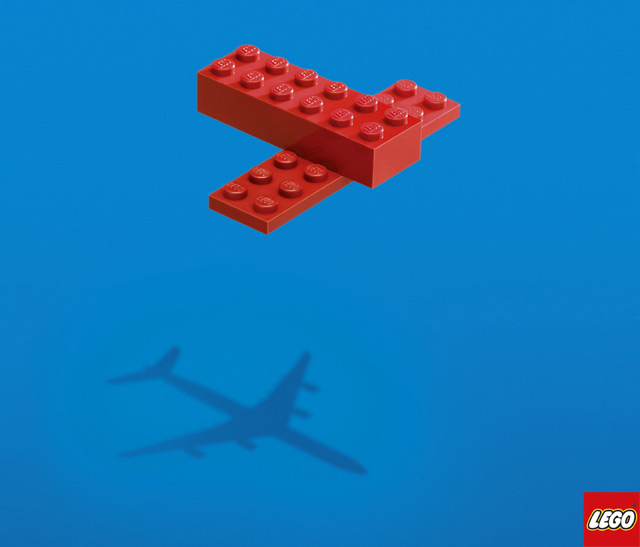 Lego has a simple and easily understood design showing the capabilities and inspirational qualities of the product.
