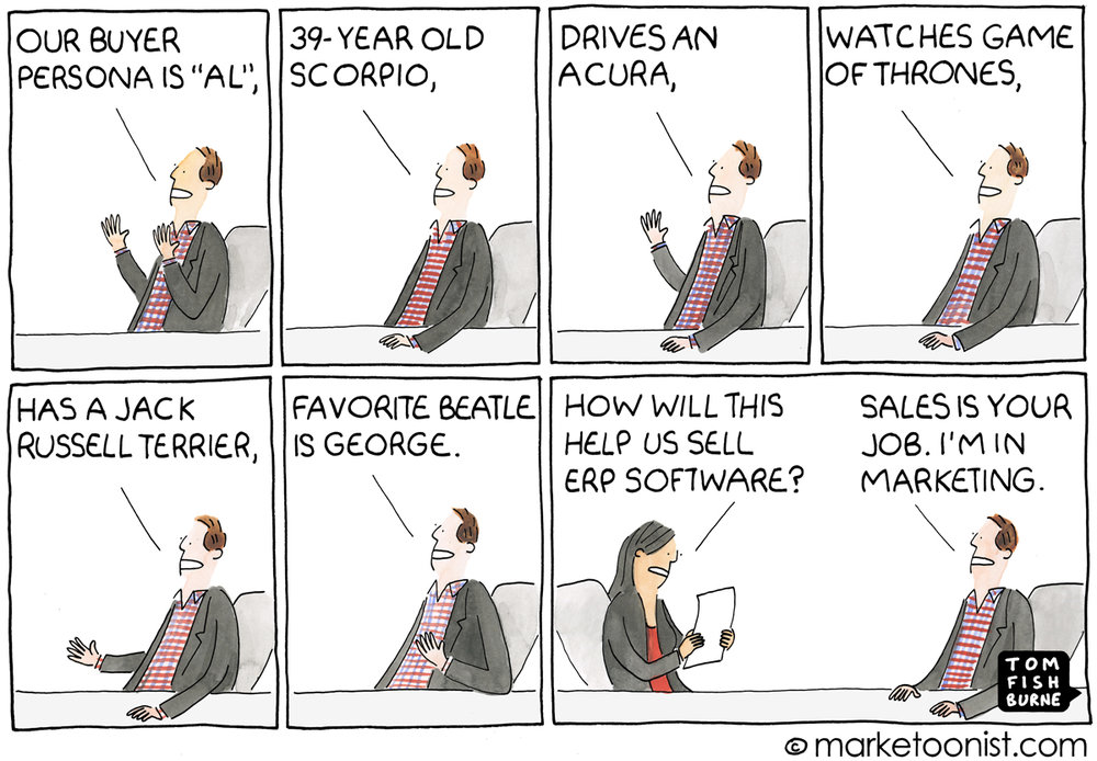 Marketoonist Tom Fishburne illustrates sales and marketing working together to create personas.