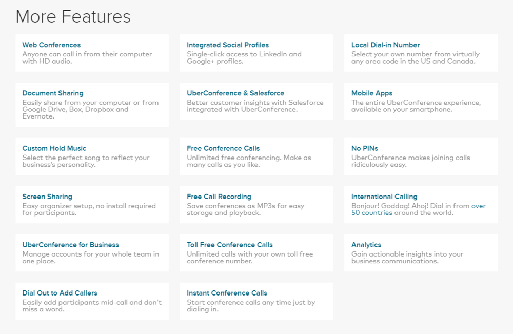 These are among the many features offered by UberConference.
