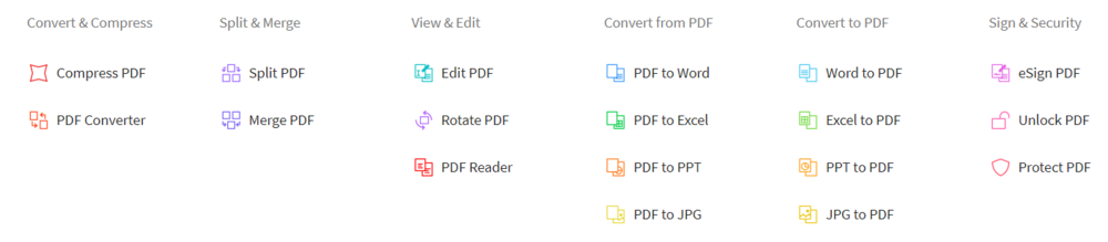 The following includes all of the conversion tools Smallpdf offers.