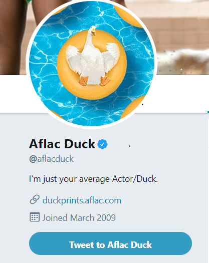 The Aflac duck is one of the most followed brand mascots on Twitter, clearly showing an effective brand marketing strategy.