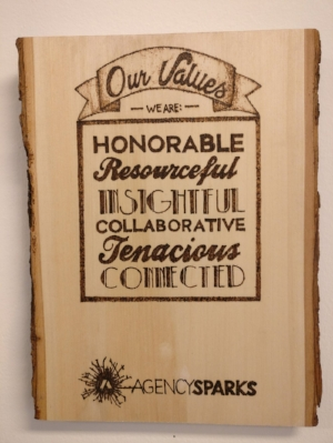 Our values at AgencySparks include: honorable, resourceful, insightful, collaborative, tenacious, and connected.