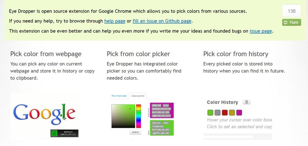 Eye Dropper is a chrome extension that helps identify a specific color on a site.