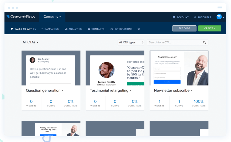 ConvertFlow is a lead generation and on-site retargeting tool to help marketers grow their email lists and consumer base.