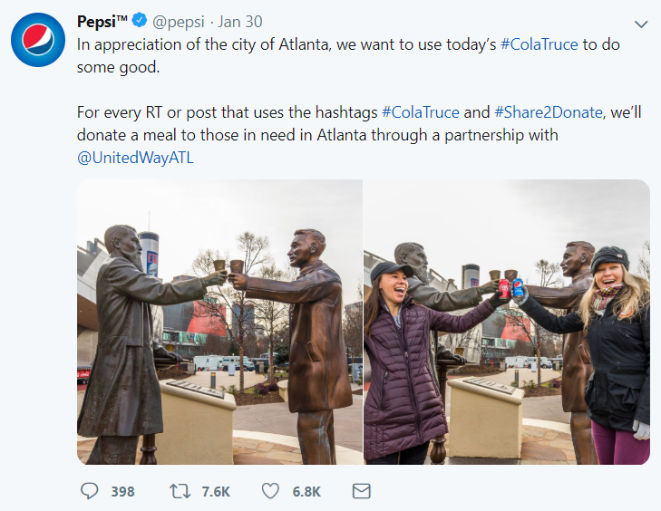 Super Bowl LIII #ColaWars2019 Truce. Pepsi turned their negative campaign for the big championship game into a positive one by calling on Twitter followers to share their post in order to donate food to the Atlanta community.