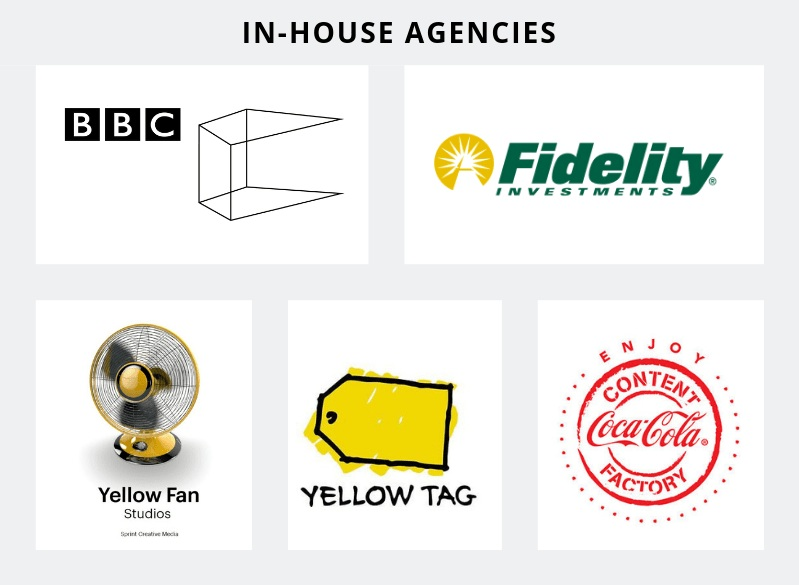 Examples of brands with strong in-house agencies: Fidelity Communications & Advertising (Fidelity Investments), Content Factory (Coca-Cola), Yellow Tag Productions (Best Buy), Yellow Fan Studios (Sprint Communications), BBC Creative (BBC)