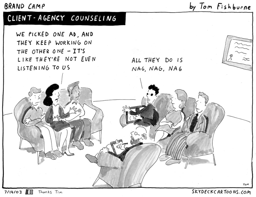 Marketoonist illustrates the importance of listening and communicating in an agency-client relationship.