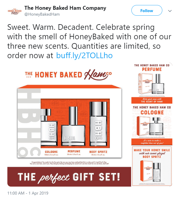 """The Honey Baked Ham Company """"launched"""" scents that smelled like ham for April Fool's Day 2019."""