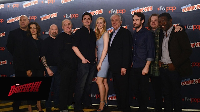From left to right: Vincent D'Onofrio, Ayelet Zurer, Steven S. DeKnight, Jeph Loeb, Toby Leonard Moore, Deborah Ann Woll, Bob Gunton, Charlie Cox, Elden Henson, and Vondie Curtis-Hall