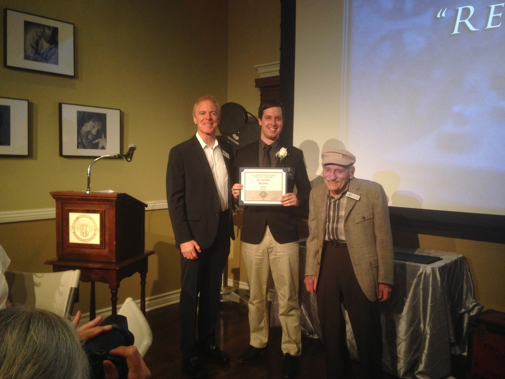 Oren accepting his nomination certificate with ASC President Richard Crudo, ASC, and Isidore Mankofsky, ASC.