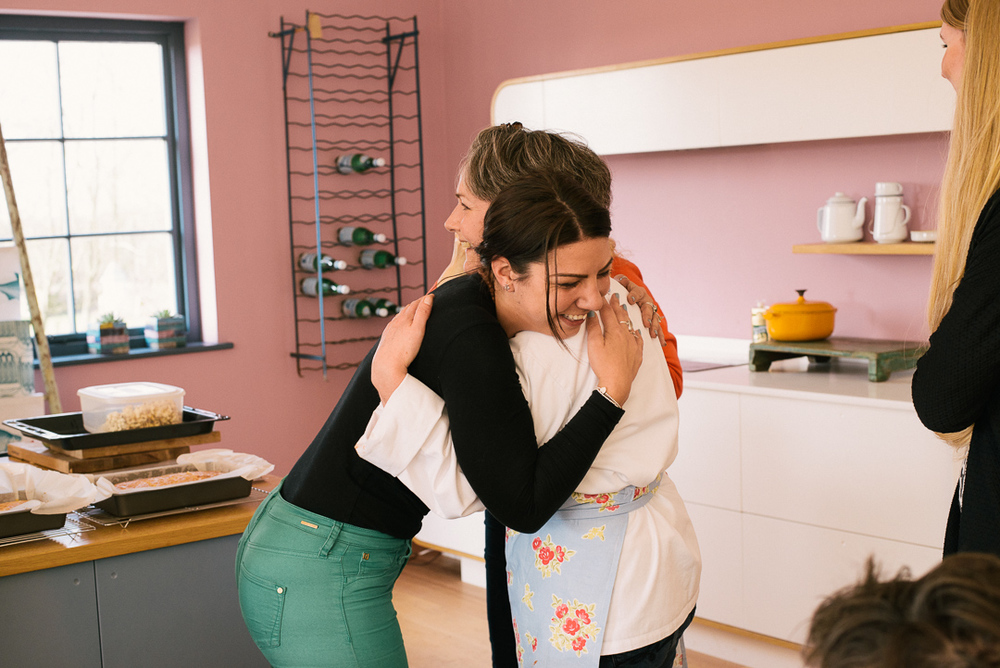Jane being embraced by one of our production team - Rachel.