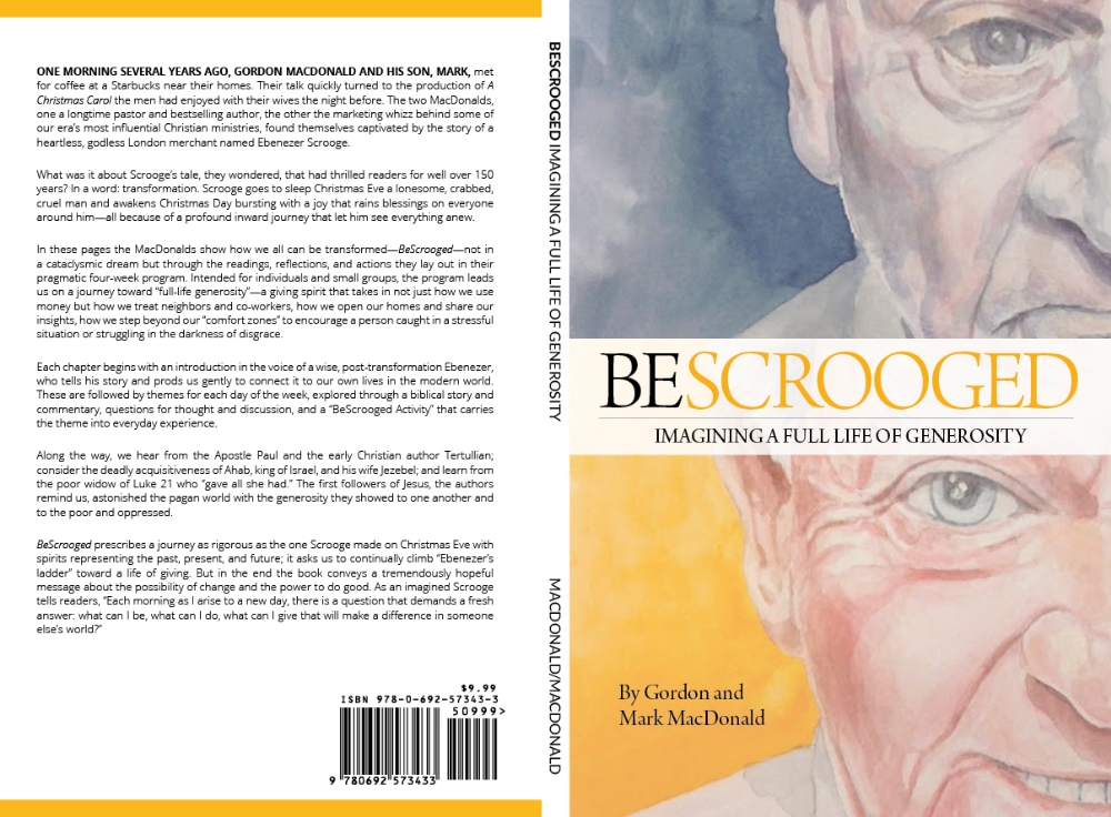 """I designed the entirety of this book, working with a watercolor artist who produced the cover images. As a sort of """"devotional,"""" the book's content was complex, with weekly introductions, re-imaginings of the story of Ebenezer Scrooge and a month's worth of daily """"homework and reflection"""" chapters."""