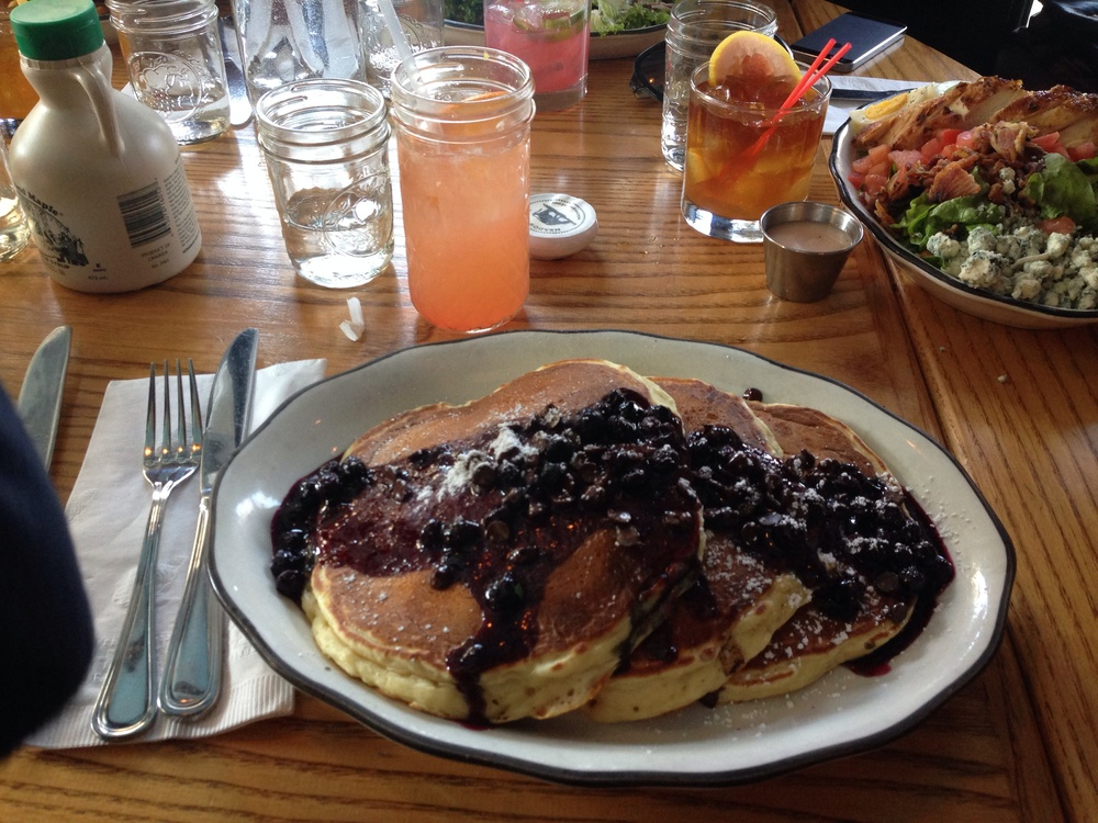 Pancakes at Bubby's, complete with blueberries and chocolate chips. Obvs.