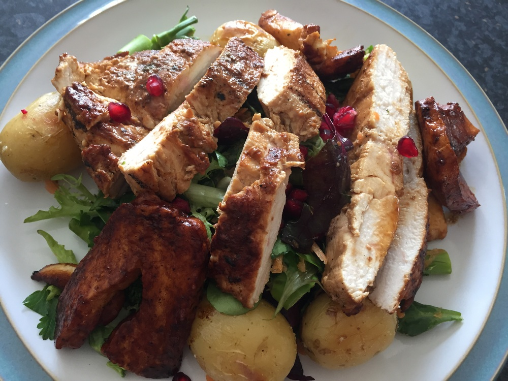 Citrus grilled chicken and halloumi salad