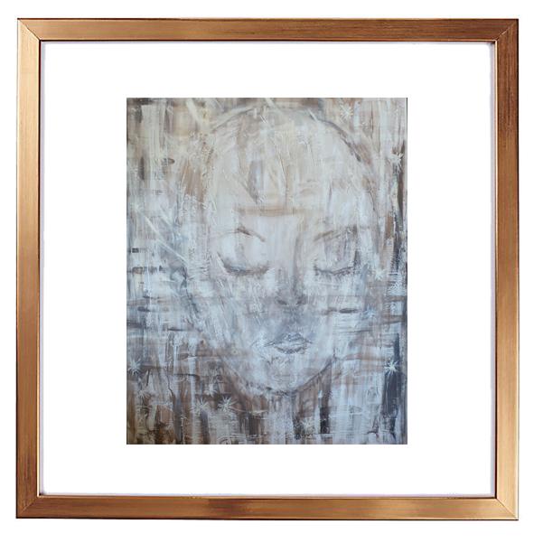 Kunst-trykk, signert, innrammet med glass i kobber-ramme. 30x30 cm