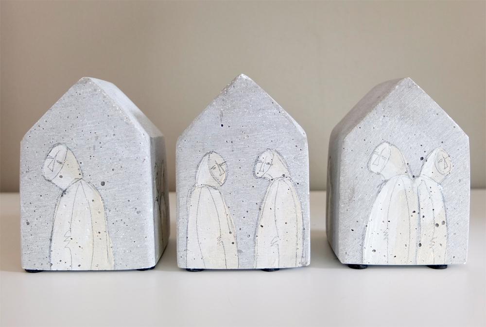 3 pieces of Lindisfarne Kloster.H 10cm W 7cm D 7cm