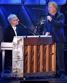 Matt Maher performing with Bill Gaither - Photo Credit John Shearer and Terry Wyatt of Getty Images for the 46th Annual GMA Dove Awards