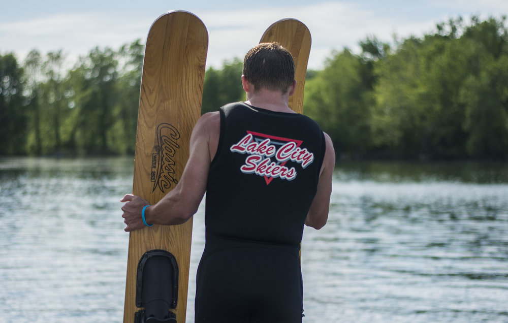 Before each skier leaves the dock, they have to set their skies in the direction they will be leaving the dock. The Lake City Skiers do jumps, tricks, a ballet line, barefoot water skiing, swivel skiing and other routines during their shows.