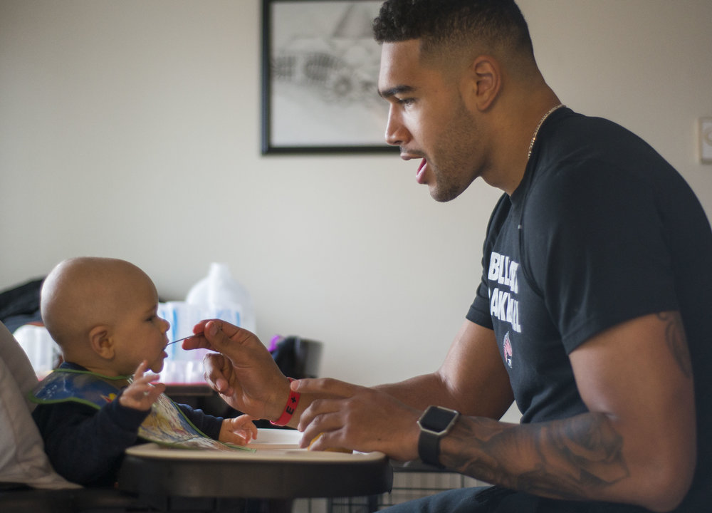 "After the Dec. 3 loss to IUPUI (73-62), it was a normal day at the home Franko House and Morgan Jantzi share with their son Carter. Around 12:30 p.m., Franko House continued his fatherly duties of feeding Carter. Before each bite, Franko House would say ""oh,"" ""ah"" or ""Carter"" to maintain his attention as he ate sweet potatoes and applesauce."